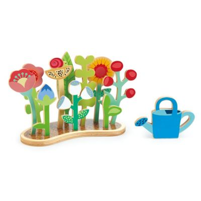 Traditional children's wooden flower bed and watering can play set