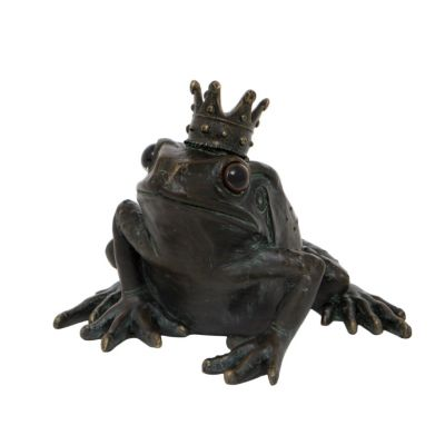 Bronze effect frog prince resin garden ornament - Luxury home accessories