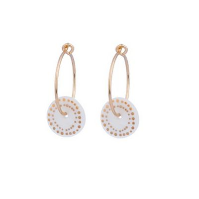 Gold dot porcelain hoop earrings