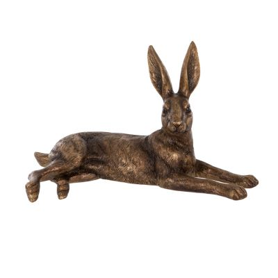 Lying golden hare garden ornament