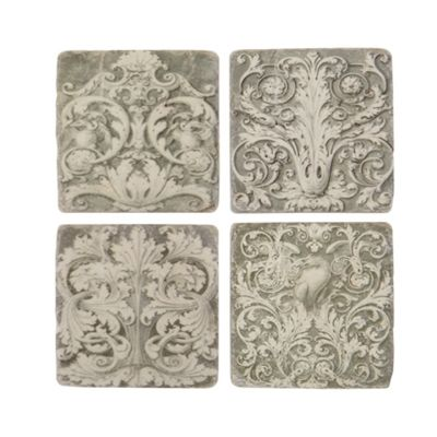 Grey Grecian ceramic kitchen coasters set of 4