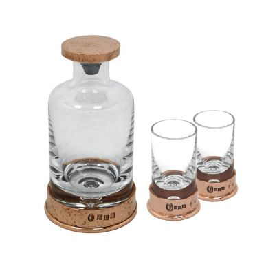 Copper plated pewter and glass mini decanter and shot glass set