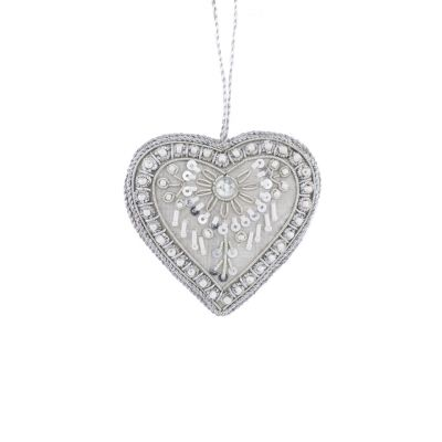 Luxurious silver hanging heart decoration - hand embroidered with glass beads & metal threads