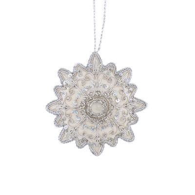 Platinum silver rosette luxury embroidered hanging christmas ornament