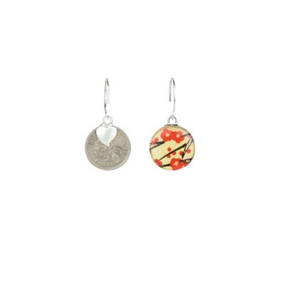 Red blossom sixpence drop earrings