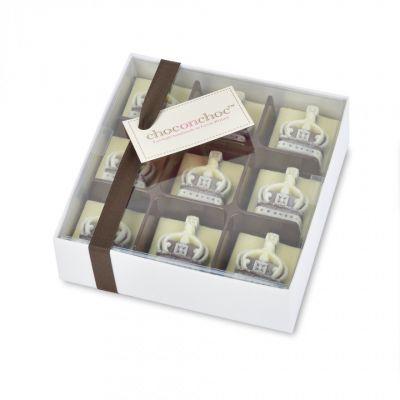 Handmade Belgian crown chocolate box - 9 mini dark and white chocolate crowns