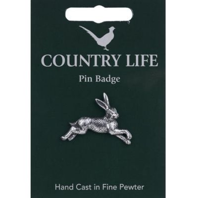 Hare pewter pin badge