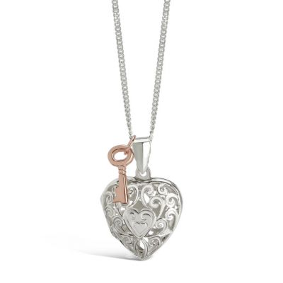 Sterling silver heart locket with rose gold key