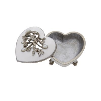Jewelled cream heart shaped enamelled metal trinket box