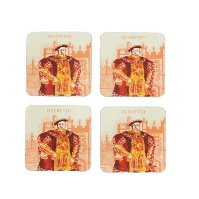 Illustrated Henry VIII at Hampton Court Palace set of 4 coasters opened set