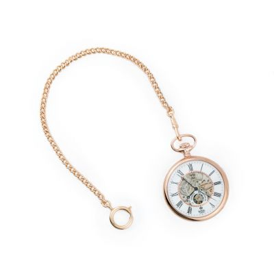 Rose gold pocket watch - skeleton design with pocket chain