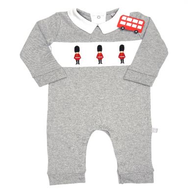 Little London embroidered cotton grey guardsman romper suit