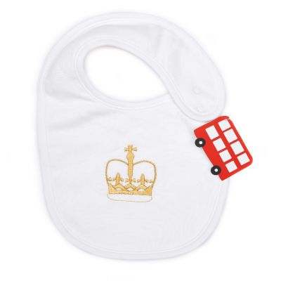 Little London crown cotton baby bib