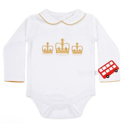 Little London crown embroidered cotton children's bodysuit