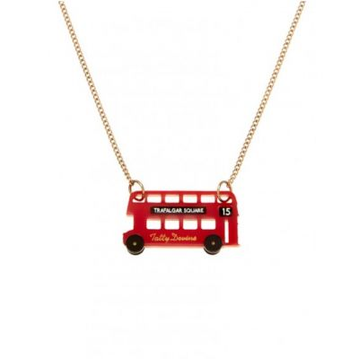 Tatty Devine acrylic London bus necklace on gold chain