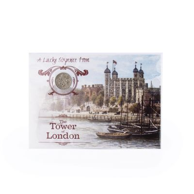 Tower of London framed lucky sixpence coin