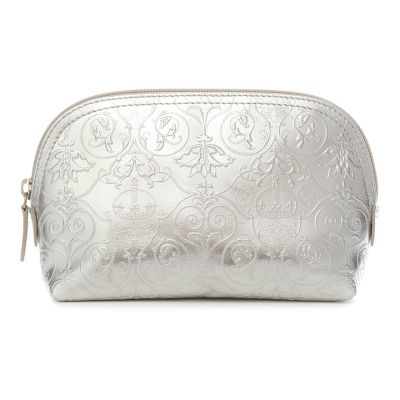 Royal Victoria silver metallic leather makeup bag
