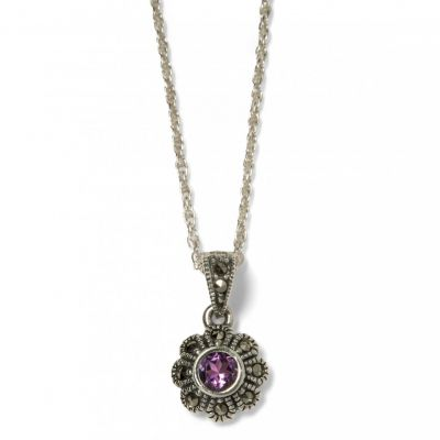 Amethyst and  marcasite silver flower pendant