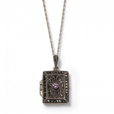 marcasite and amethyst book locket