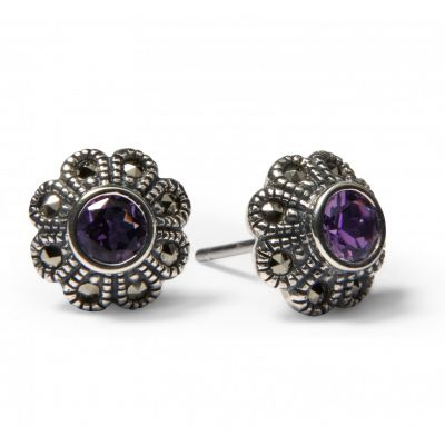 Amethyst and marcasite flower stud earrings