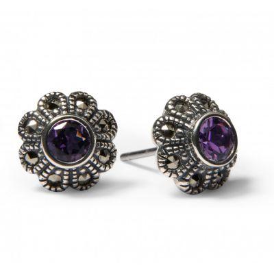 Amethyst and marcasite flower stud earrings