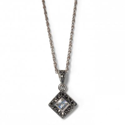 Cubic zirconia and marcasite square silver pendant