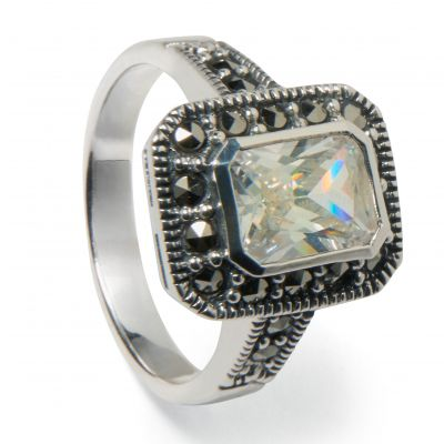 Marcasite swarovski crystal cocktail ring