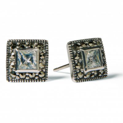 Square marcasite stud earrings