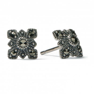 Marcasite cross silver stud earrings