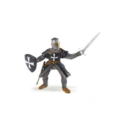 Medieval hospitaller knight model toy with chainmail and black tunic with cross insignia