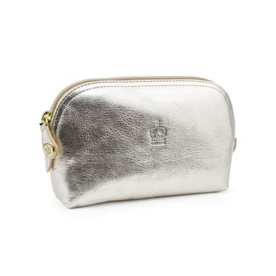 Crown of India metallic leather make up bag
