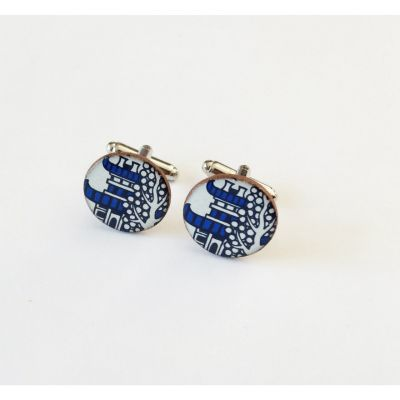Pagoda Willow Pattern blue and white ceramic cufflinks