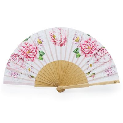 Luxury pink folding paper palace rose fan - Floral hand fan