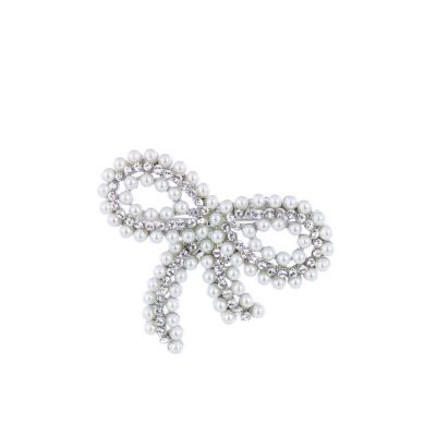 Silver pearl bow brooch