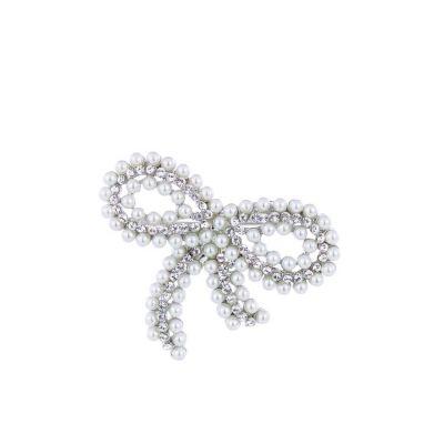 Silver pearl bow brooch