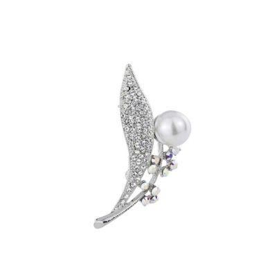 Silver pearl leaf brooch