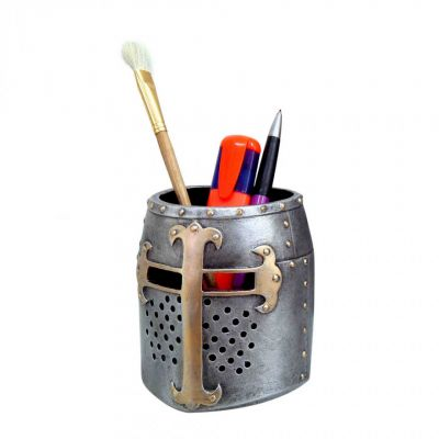 Crusader medieval helmet pen & stationery pot