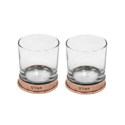 Copper plated pewter and glass tumbler set