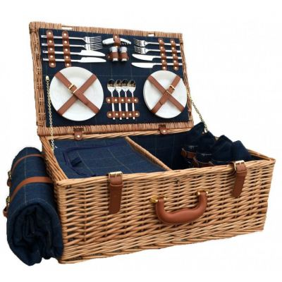 4 Person tweed hamper with basket