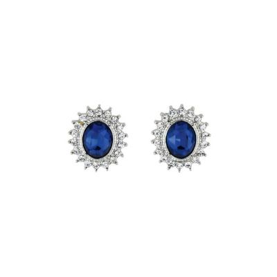 Faux sapphire clip on earrings