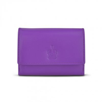 Crown purple leather purse