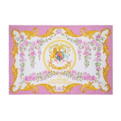Queen's 95th Birthday souvenir tea towel - Pink & gold design design featuring rose garlands and the royal crest. Dated 21st April 2021