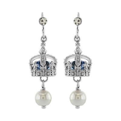 Queen Victoria's small diamond crown pearl drop earrings