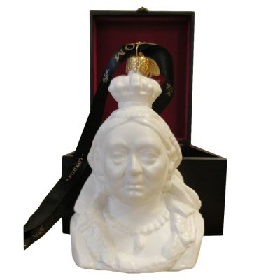 Queen Victoria bust white glass decorations