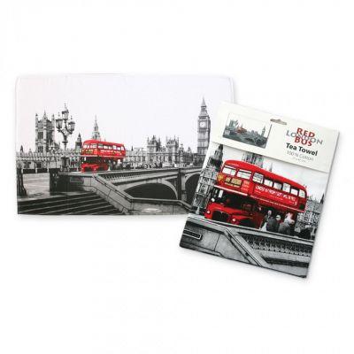 Red bus tea towel