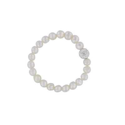 Real pearl sparkling crystal ball stacking bracelet
