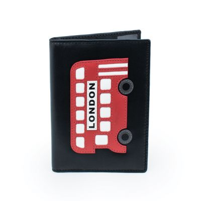 Red Bus leather passport holder