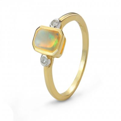 Opal and diamond 9ct yellow gold cocktail ring ring