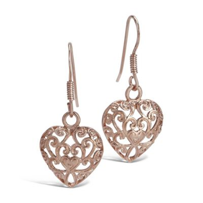 Kensington Palace gates rose gold heart drop earrings