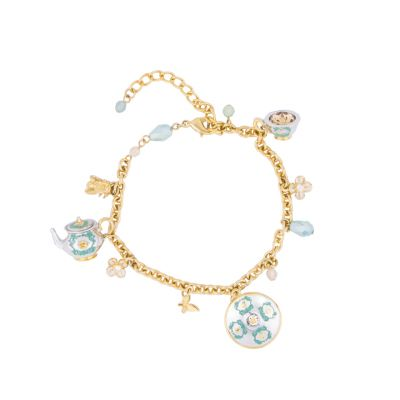 Royal Palace china charm bracelet - teapot charm